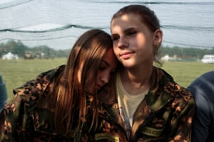 """The Historical War Camp in Borodino, Russia.Nastya Gobritskaya (L, 15) from Moscow and Alina Klikova (R, 16) from Medin at the Historical-War Camp, in Borodino, Russia. 26 July 2016. The project statement of the camp says: """"To awaken in the younger generation a keen interest in the history of the Fatherland, the glorious deeds of our ancestors, to facilitate the expansion of military-historical knowledge."""""""