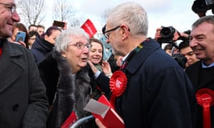 Corbyn greets supporters in Stainton near Middlesbrough.