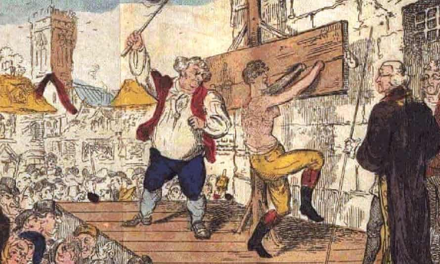 An illustration from the 1813 edition of Henry Fielding's The Female Husband depicts Mary Hamilton being flogged for supposedly deceiving a woman into marriage.