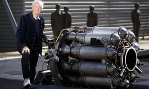 Sir James Dyson with his Whittle engine, one of the earliest surviving jet engines in the world