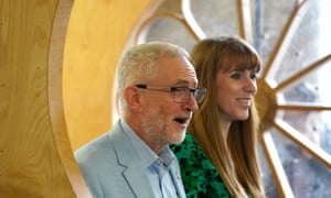 Angela Rayner with Jeremy Corbyn at the Spinning Mill in Leeds on Saturday.