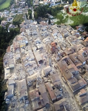 An aerial view shows the damage in Amatrice.