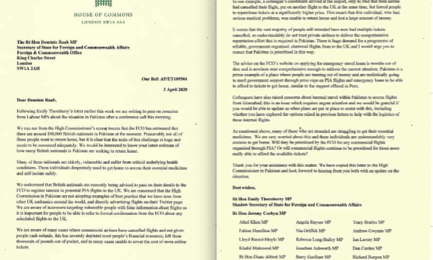 Emily Thornberry's letter to Dominic Raab over British nationals stranded in Pakistan.