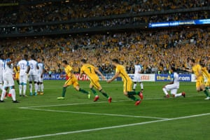 No-one quite knows who to congratulate. But Jedinak is credited with the goal.