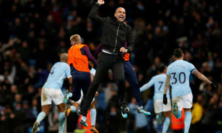 Manchester City's manager Pep Guardiola celebrates after Raheem Sterling scored their late winner against Southampton