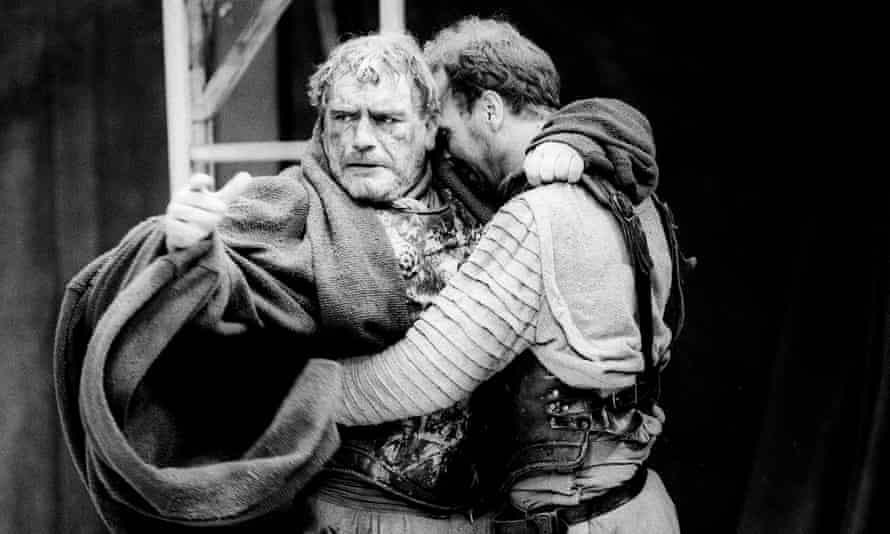 Brian Cox and Derek Hutchinson in Titus Andronicus in the RSC production of Titus Andronicus at the Barbican, London, in 1988, directed by Deborah Warner.