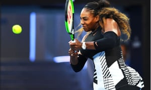 Serena Williams playing tennis at the Australian Open.