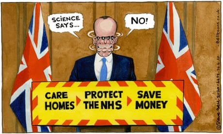 Steve Bell on Dominic Raab giving the daily press briefing – cartoon