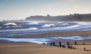 Rough sea in Winter Sunshine Sandsend near Whitby North Yorkshire