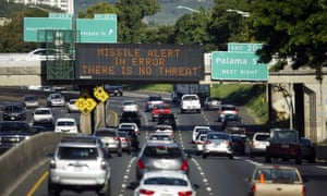 An information sign over a busy road in Hawaii lets drivers know they aren't about to be blown to bits by a missile.