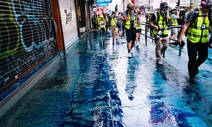 Blue dye liquid was used in water cannon near Tsim Sha Tsui district during the demonstration in Hong Kong Sunday.