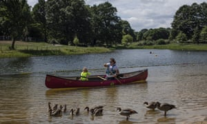 Swimming buoys and areas for boating are set up ahead of the opening of a wild swimming and recreational lake in Beckenham Place Park.