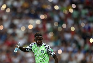 Nigeria midfielder Wilfred Ndidi refreshes himself during the game against Iceland in sweltering Volgograd.