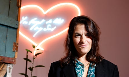 Tracey Emin with her work You forgot to kiss my soul, in 2001.