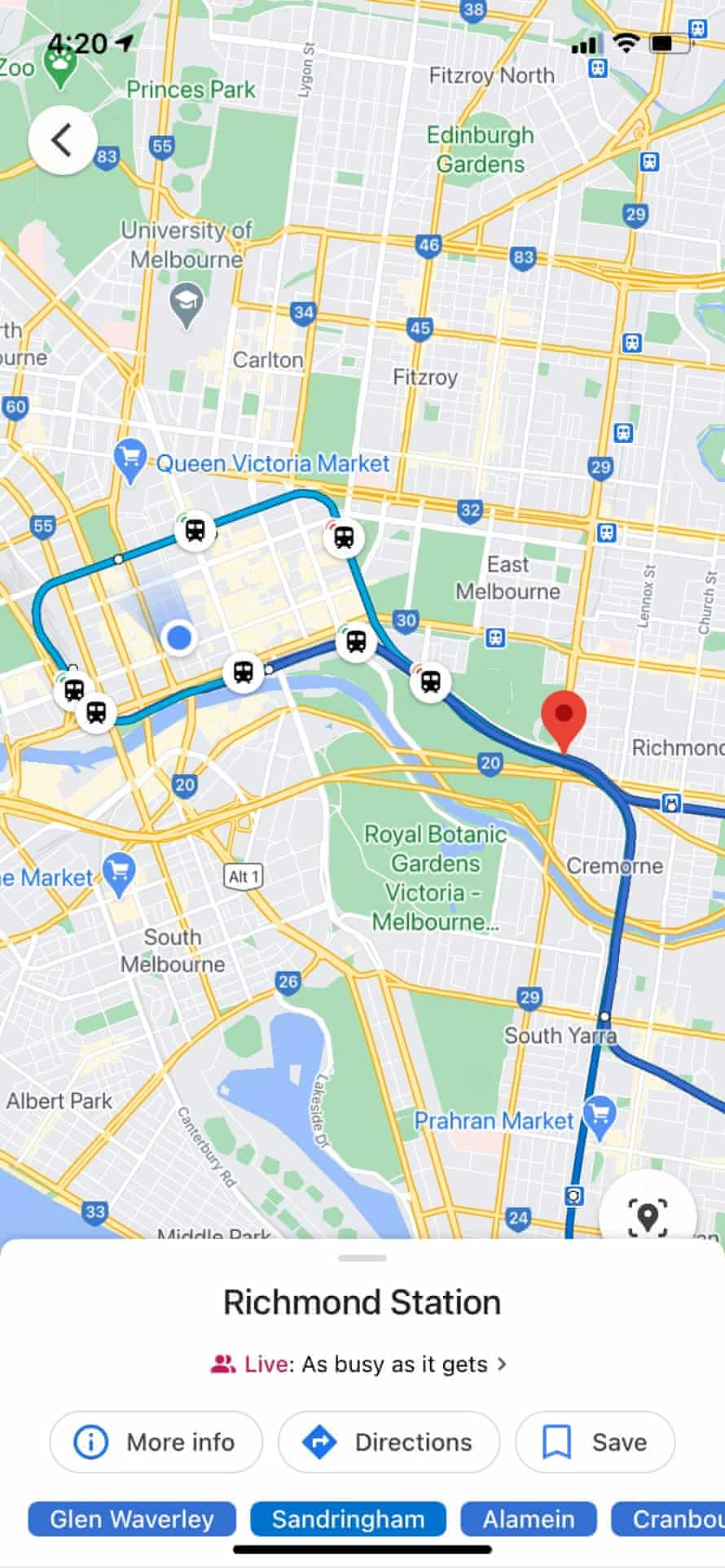A mock-up of a Google Maps feature that shows Melbourne commuters how crowded trains are