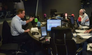 Humphrys talking to David Cameron on his last day presenting Today.
