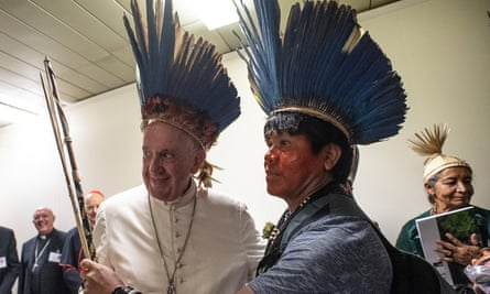 Pope Francis meeting indigenous Amazonians in Rome