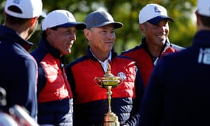 Davis Love III, the USA captain, who also led the team at Medinah in 2012, holds the Ryder Cup in the build-up to taking on Europe at Hazeltine