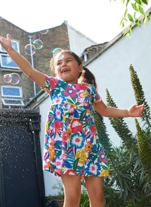 Maya, 4, wears dress, £20, boden.co.uk