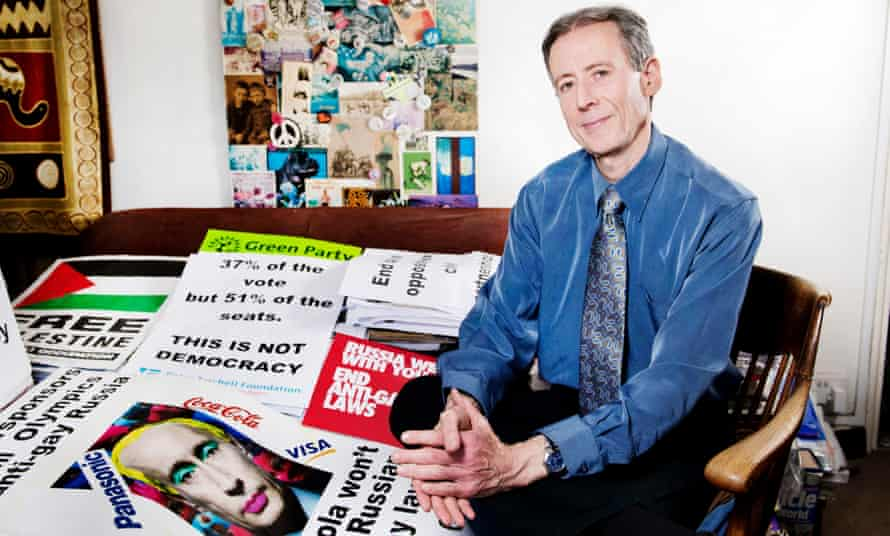 'I've got off lightly compared to human rights defenders in Russia, Iran or Uganda … Tatchell in his London flat.