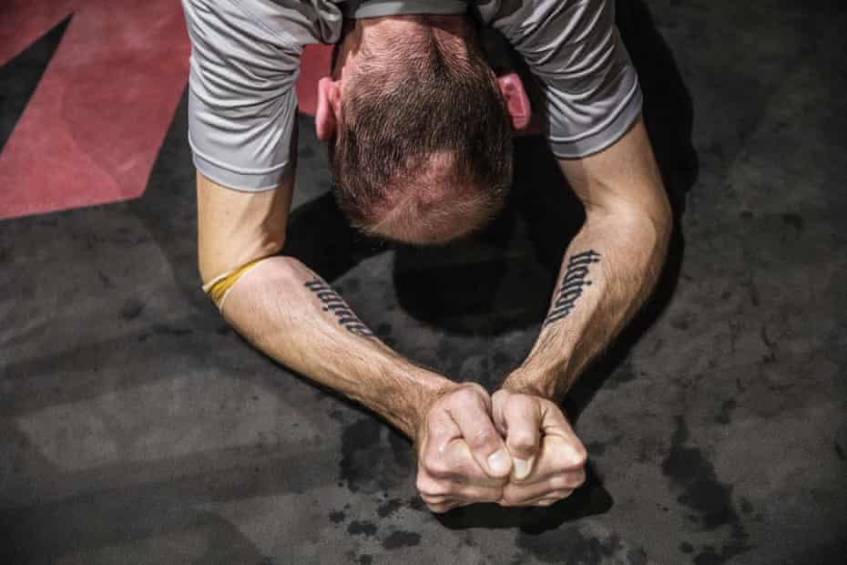 Allan Luks sweats in out during at a Wimp to Warrior training session.