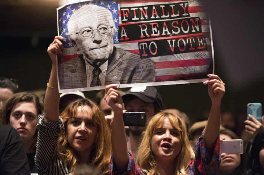 Supporters of Democratic presidential candidate Bernie Sanders attend a campaign rally in Los Angeles, California in 2016.