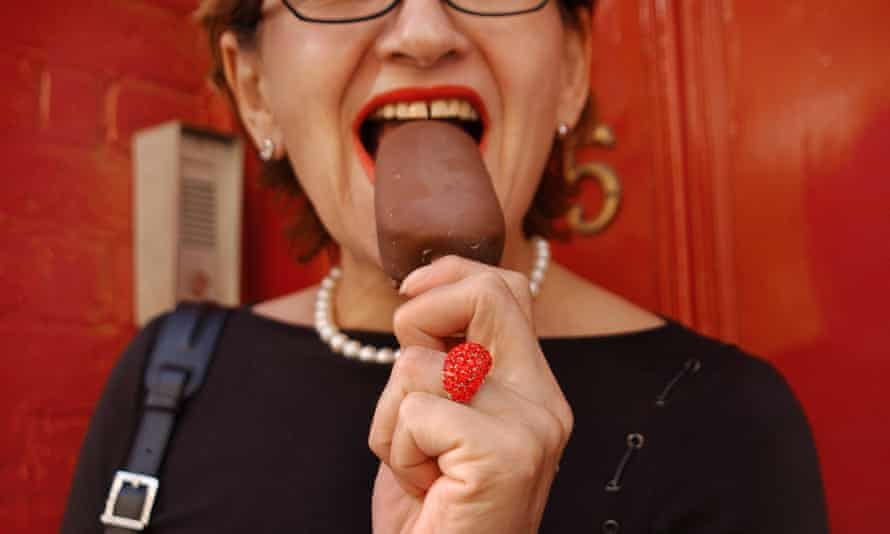 Woman eating a Magnum ice cream