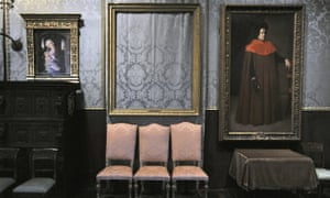 Due to a quirk in Gardner's will, the empty frames that once held the paintings remain on the walls of the museum .