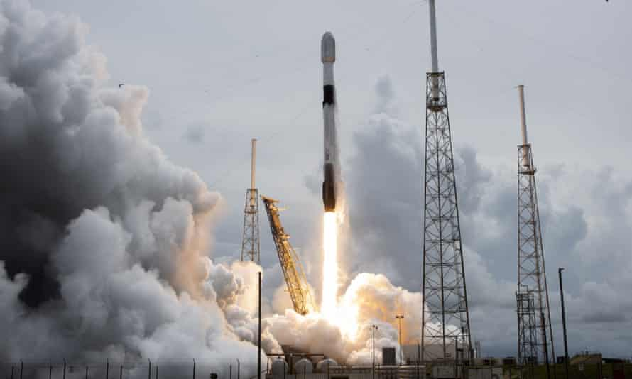 A SpaceX Falcon 9 rocket launches at Cape Canaveral in Florida.