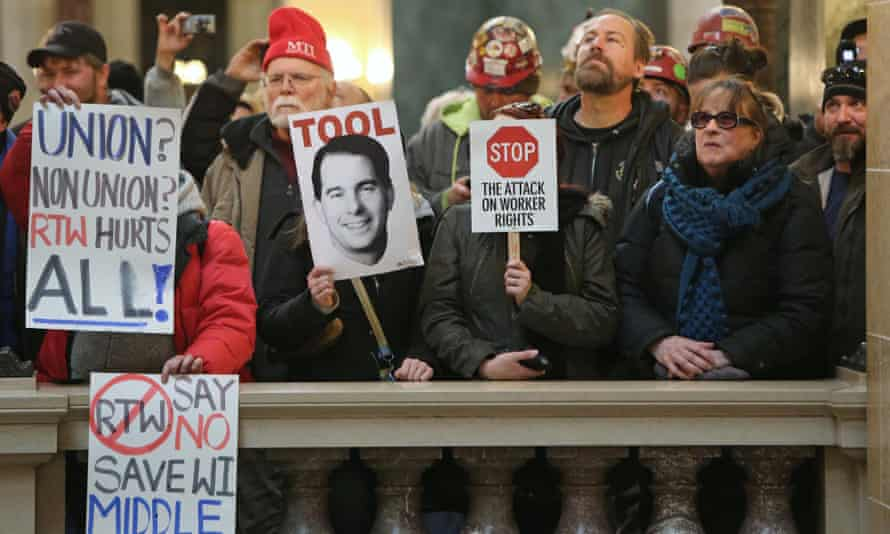 'right-to-work' bill protest in Wisconsin