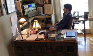 Canada's Prime Minister Justin Trudeau speaks with G7 leaders during a teleconference while under self-isolation at Rideau Cottage in Ottawa.