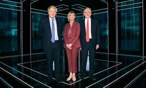 Jeremy Corbyn and Boris Johnson with Julia Etchingham before the ITV leaders debate