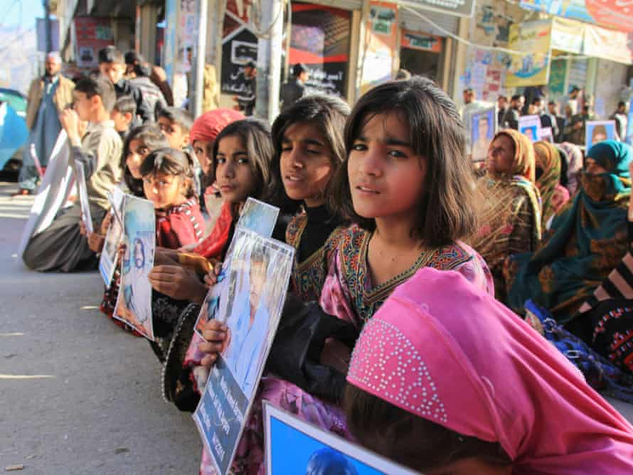 Families hold a protest against enforced disappearances in Quetta, Balochistan