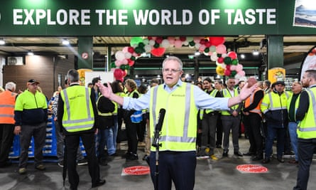 Scott Morrison on a visit to the Sydney Markets on Friday.