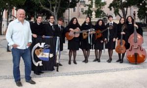 'I just like to mooch, okay?' Rick Stein bumps into the Tuna Feminina all-girls band in Lisbon.