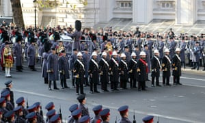 Servicemen and women attend the annual Remembrance Sunday memorial at the Cenotaph in central London