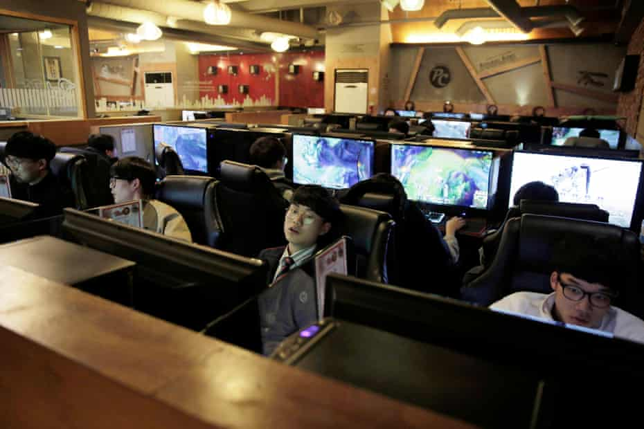 Young male gamers in a PC bang in the Hongdae area of Seoul.