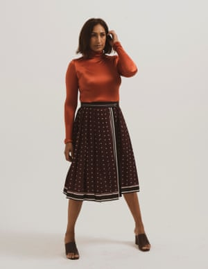 model wears roll neck body, £225, wolfordshop.co.uk. Skirt, £85, frenchconnection.com. Sandals, £97.75, whistles.com.