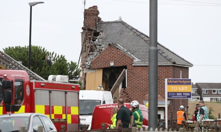 Emergency services at the scene of a house explosion in Sunderland