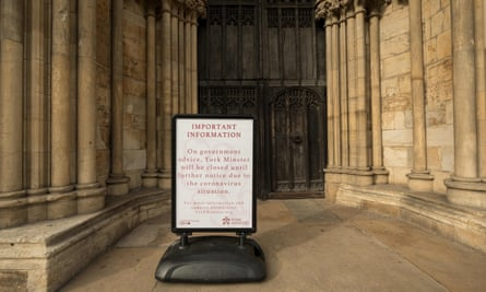A notice outside York Minster informs members of the public that it has been closed because of the coronavirus pandemic.