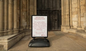 A closure notice outside York Minster