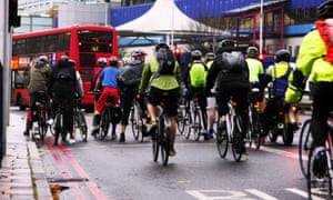 London cyclists in morning rush-hour