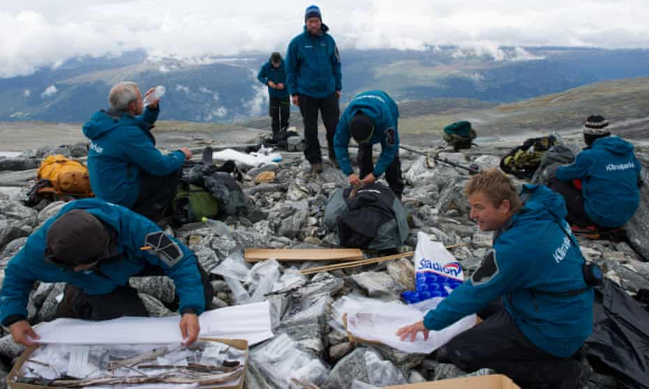 Deep freeze: archaeologists search for Viking relics at Lendbreen, Norway.