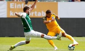 Brighton winger Anthony Knockaert in action against Swiss side St Gallen.