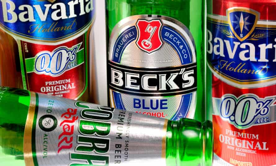Alcohol-free beer bottles and can