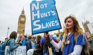 A junior doctors' protest against health service cuts and contract changes in October.