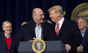 Donald Trump and Gary Cohn affirm their support for each other, at Camp David in January.