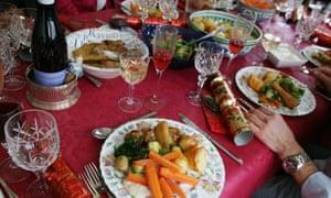 Christmas dinner on a table