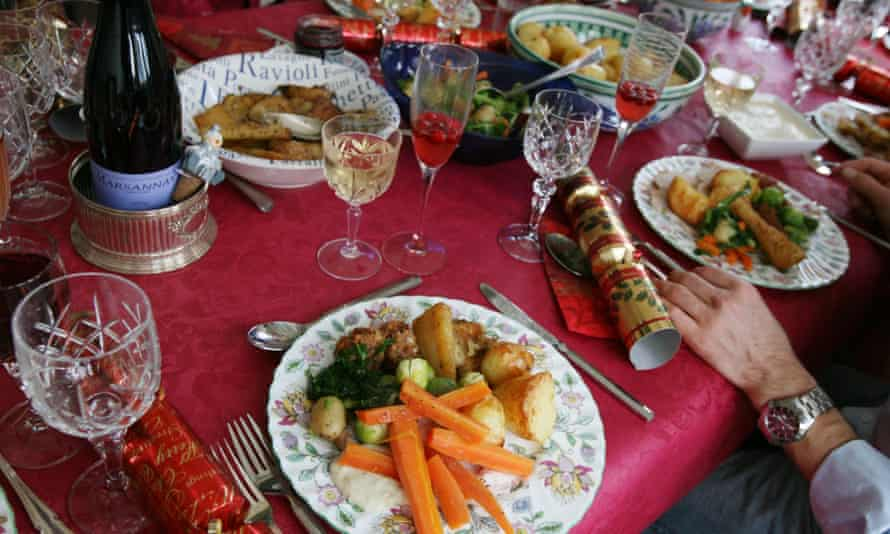 Christmas lunch plate on table