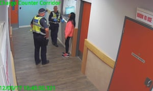 A screen grab from CCTV footage of Tanya Day's arrest at Castlemaine police station on 5 December 2017.
